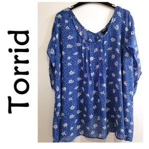 Torrid Blue Floral Sheer Split Back Blouse Plus 4